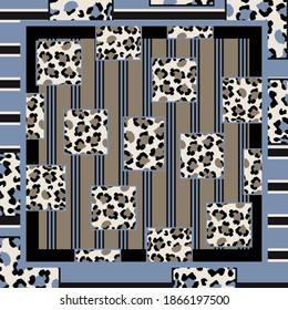 Square scarf with leopard skin pattern. Silk scarves design motif on blue color
