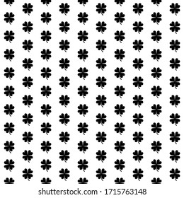Square seamless background pattern from black four-leaf clover symbols. The pattern is evenly filled. Vector illustration on white background