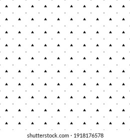Square seamless background pattern from black triangle symbols are different sizes and opacity. The pattern is evenly filled. Vector illustration on white background