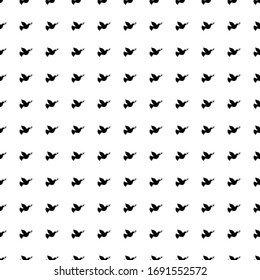 Square seamless background pattern from geometric shapes. The pattern is evenly filled with black dove of peace symbols. Vector illustration on white background
