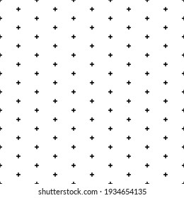 Square seamless background pattern from geometric shapes. The pattern is evenly filled with small black plus symbols. Vector illustration on white background