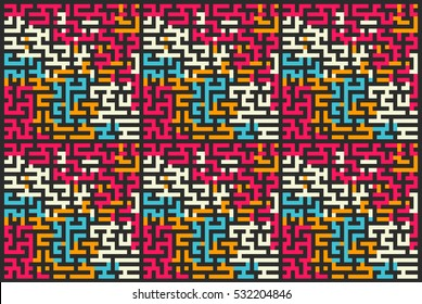 Square seamless pattern of colored labyrinth, flat