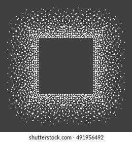 Square shape snow frame. Winter background made of spots, snowflakes, dots, specks, flecks of various size. New Year, Christmas black and white abstract template with empty space for your text.