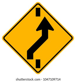 Square Shaped Changing To Right Lane Traffic Road Sign,Vector Illustration, Isolate On White Background Icon. EPS10