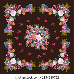 Square shawl with beautiful floral pattern on dark brown background in russian folk style in vector.