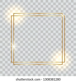 Square shiny gold frame with shadows, on a transparent background. Golden realistic frame. Vector illustration
