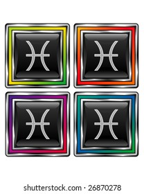 Square shiny vector button with pisces zodiac icon on black background
