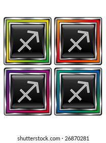 Square shiny vector button with sagittarius zodiac icon on black background
