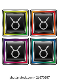 Square shiny vector button with taurus zodiac icon on black background