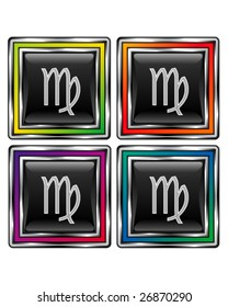 Square shiny vector button with virgo zodiac icon on black background