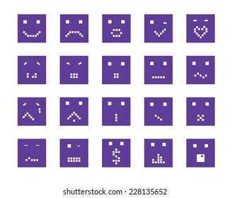 square smiling faces vector icon set