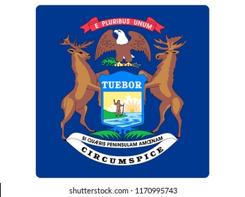 Square State Flag of Michigan