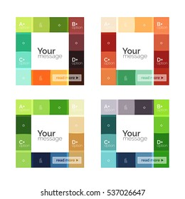 Square and stripes geometric infographic templates. Geometric business abstract background for workflow layout, diagram, number options or web design