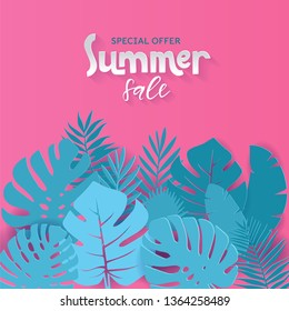 Square Summer sale banner design with paper cut tropical palm leaves background with hand drawn lettering qoute. Vector illustration. Exotic Hawaiian Monstera jungle floral background. Special offer.