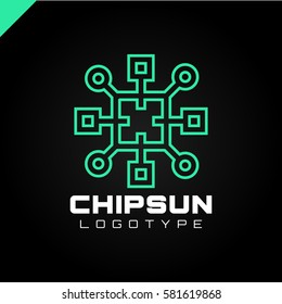 Square sun chip integrate technology element icons business logo