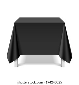 Square table covered with black tablecloth. Vector.