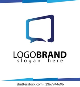 Square talk or chat or message logo template