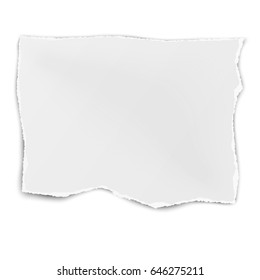 Square tattered paper tear isolated on white background