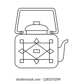 Square teapot in Oriental style with geometric pattern on isolated background, Doodle style. Vector graphics