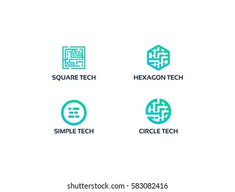 Square tech logo , Circle tech logo, Hexagonal Shape of modern Technology logo illustration