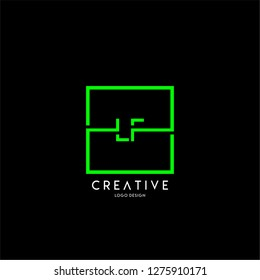 square technology lf logo letters design concept in green color