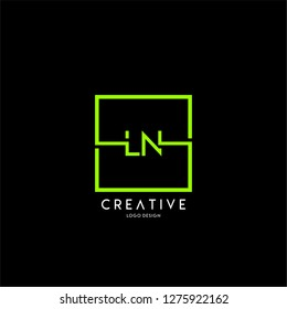 square technology ln logo letters design concept in green color
