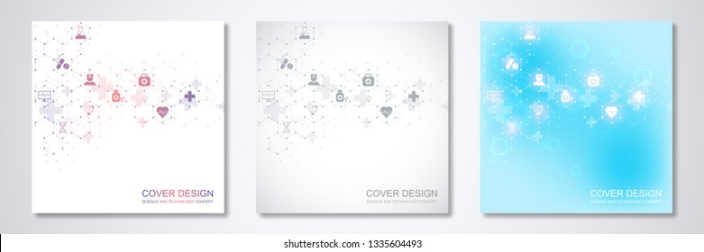 Square template brochure or cover with medical icons and symbols. Healthcare, science and innovation technology concept