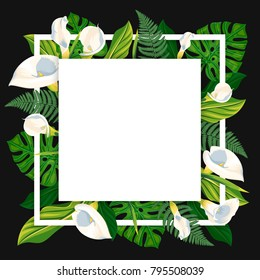 Square template with calla lilies and tropical leaves