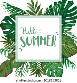 A square template with leaves of tropical palms. Hand-written lettering Hello Summer