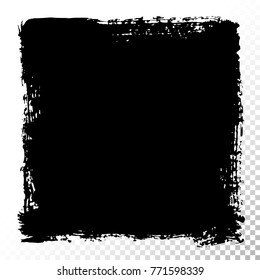 Square text box. Black acrylic vector stains isolated on white. Hand drawing of banner, label, frame shape. Black textured design elements