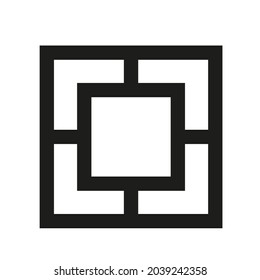 Square with thick walls icon thick square logotype