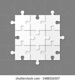 Square timeline made 9 puzzle pieces colorful connected. Concept jigsaw strategic plan nine stage. Realistic puzzle infographic design template. Vector illustration business progress puzzle 9 analysis