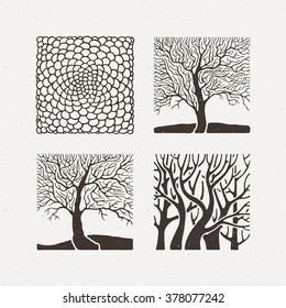 Square trees set. Vector illustration. Pattern geometric figure. Ornate hand draw.