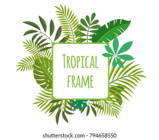 Square tropical frame, template with place for text. Vector illustration, isolated on white background.