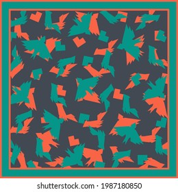 Square vector background. Scarf, shawl, design. Bandana, pareo pattern, hijab print. Ethno style.