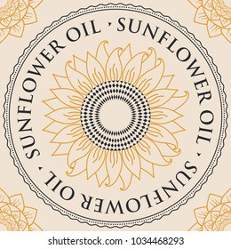 Square vector banner for sunflower oil with sunflower inscribed in a round frame with contour drawings, and floral patterns in the corners