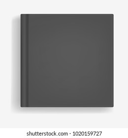 Square vector black realistic book, closed organizer or photobook cover mockup. Front view of notepad or diary with binding template for catalog, children book, menu