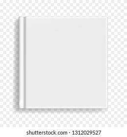 Square vector blank realistic book, closed gray organizer or notebook cover template. Front view of white notepad or diary with binding mockup for catalog, children book, menu