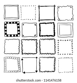 Square vector doodle background set