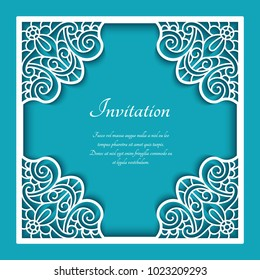 Square vector frame with lace border pattern, cutout paper ornament, template for laser cutting or wood manufacturing, elegant decoration for wedding announcement or invitation card, eps10