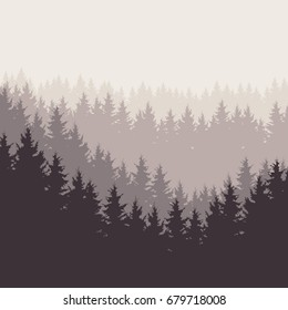 Square vector illustration of a forest under a gray sky, layered