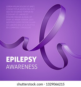 A square vector image with a purple ribbon as a symbol of epilepsy awareness. A world epilepsy day. A template for a medicine flyer poster card design