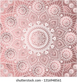 Square vector mandala pattern in dusty rose colors.