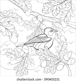 Square Vector Monochrome Zentangle Stylized Abstract Bright Bird On A Branch With Leaves And Acorns