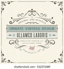 Square vintage ornate greeting card with typographic design. Can be used for retro invitations and royal certificates. Vector illustration.
