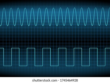 Square wave and sine wave on the oscilloscope. The voltage waveform. A sound wave of light on a dark background. Turquoise color. Stock vector illustration.