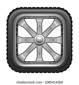 Square wheel on a white background