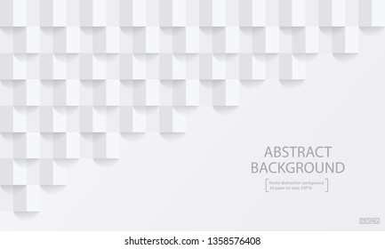 Square white abstract background. Vector background 3d paper art style can be used in cover design, book design, poster, cd cover, flyer, website