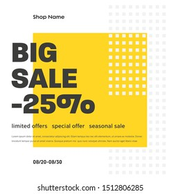 Square white banner template with abstract yellow pattern and 25% discount. Design for mobile application and social media. Email Newsletter Layout