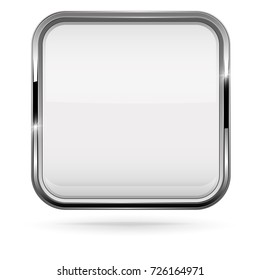 Square white button with bold chrome frame. 3d shiny icon. Vector illustration isolated on white background
